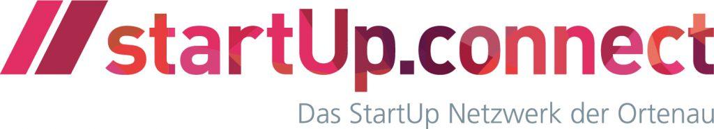 Das Logo von startUp.connect besteht aus roten Buchstaben und einem grauen Schriftzug, welcher das StartUp Netzwerk der Ortenau lautet