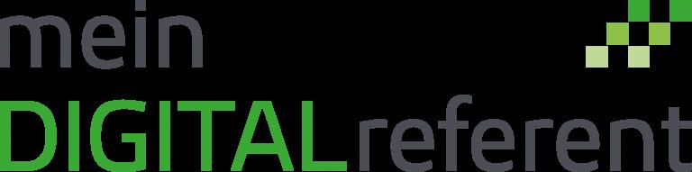 Das Logo von mein DIGITALreferent besteht aus grünen und grauen sowie Groß-und Kleinbuchstaben